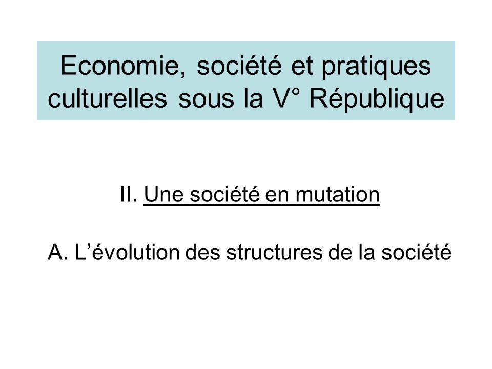Economie, société et pratiques culturelles sous la V° République II. Une société en mutation A. Lévolution des structures de la société