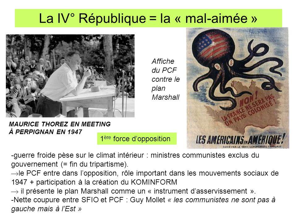 La IV° République = la « mal-aimée » MAURICE THOREZ EN MEETING À PERPIGNAN EN 1947 -guerre froide pèse sur le climat intérieur : ministres communistes