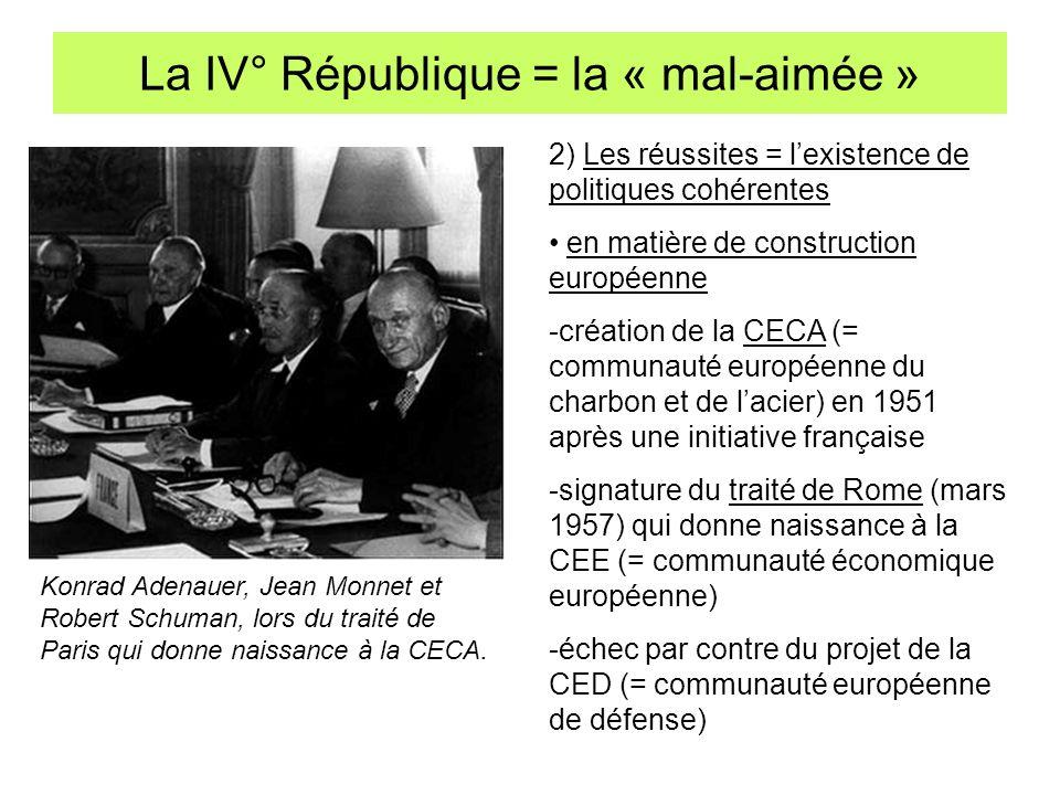 La IV° République = la « mal-aimée » Konrad Adenauer, Jean Monnet et Robert Schuman, lors du traité de Paris qui donne naissance à la CECA. 2) Les réu