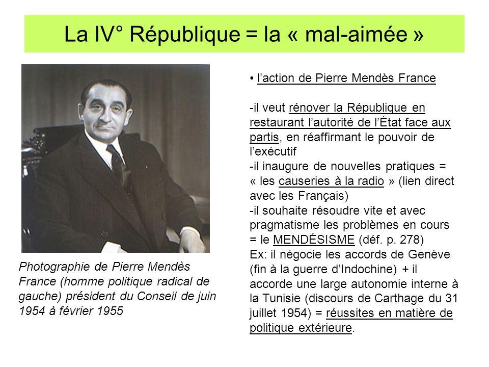 La IV° République = la « mal-aimée » Photographie de Pierre Mendès France (homme politique radical de gauche) président du Conseil de juin 1954 à févr