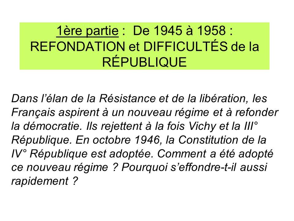 1ère partie : De 1945 à 1958 : REFONDATION et DIFFICULTÉS de la RÉPUBLIQUE Dans lélan de la Résistance et de la libération, les Français aspirent à un