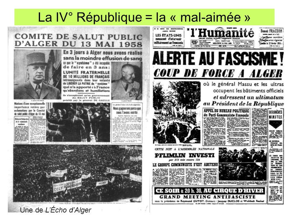 La IV° République = la « mal-aimée » Une de LÉcho dAlger