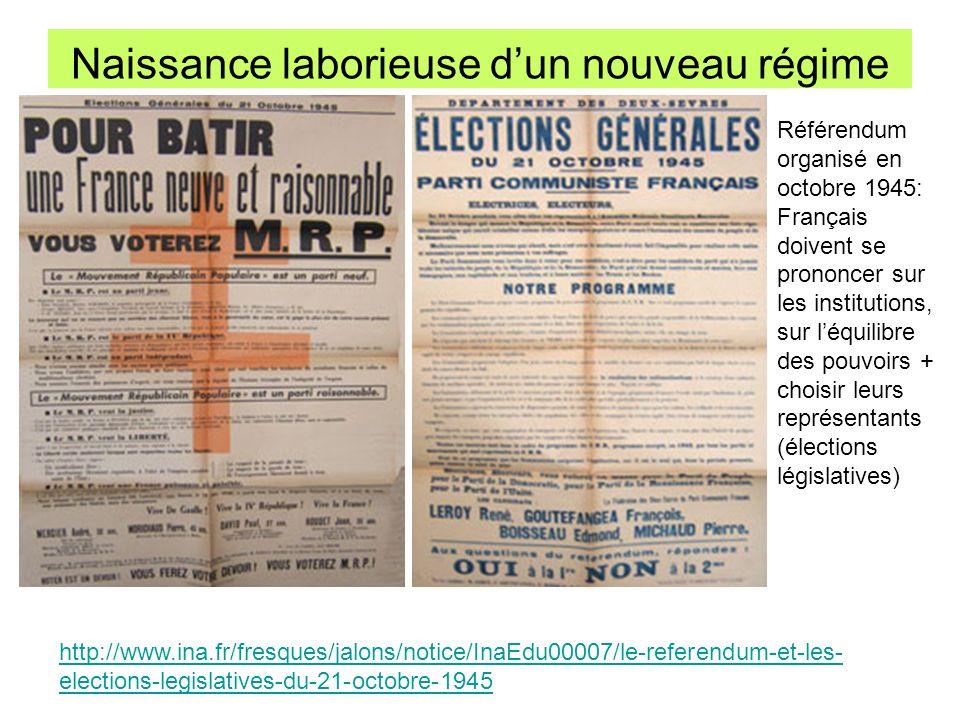 Naissance laborieuse dun nouveau régime http://www.ina.fr/fresques/jalons/notice/InaEdu00007/le-referendum-et-les- elections-legislatives-du-21-octobr