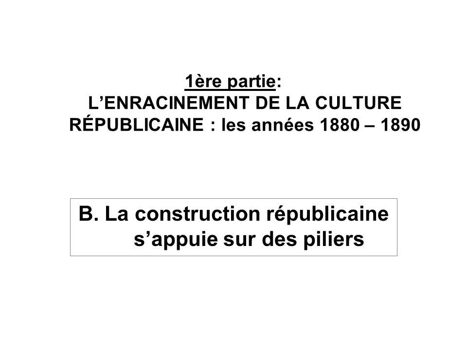 B. La construction républicaine sappuie sur des piliers 1ère partie: LENRACINEMENT DE LA CULTURE RÉPUBLICAINE : les années 1880 – 1890