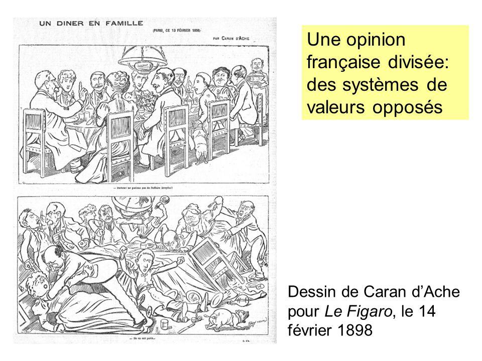 Une opinion française divisée: des systèmes de valeurs opposés Dessin de Caran dAche pour Le Figaro, le 14 février 1898