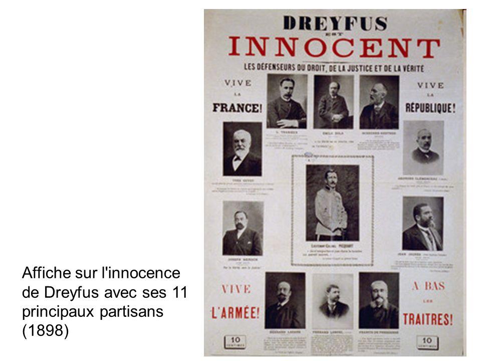 Affiche sur l'innocence de Dreyfus avec ses 11 principaux partisans (1898)