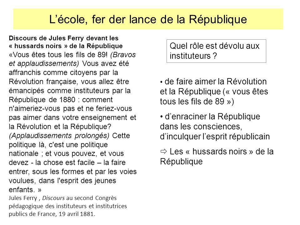 Discours de Jules Ferry devant les « hussards noirs » de la République «Vous êtes tous les fils de 89! (Bravos et applaudissements) Vous avez été affr