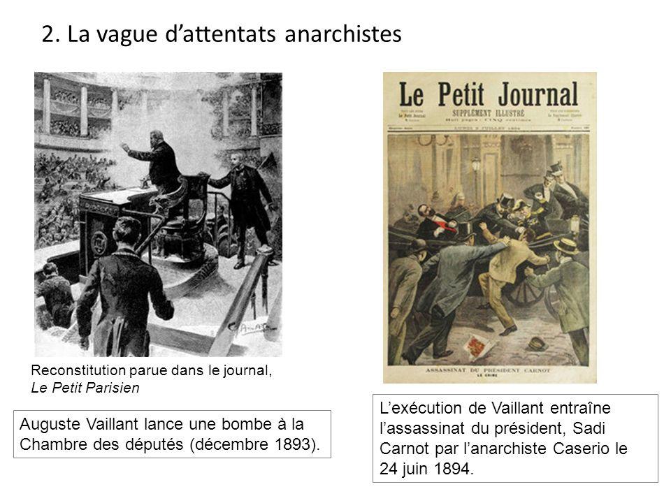 Reconstitution parue dans le journal, Le Petit Parisien Auguste Vaillant lance une bombe à la Chambre des députés (décembre 1893). Lexécution de Vaill