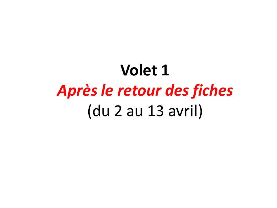 Volet 1 Après le retour des fiches (du 2 au 13 avril)