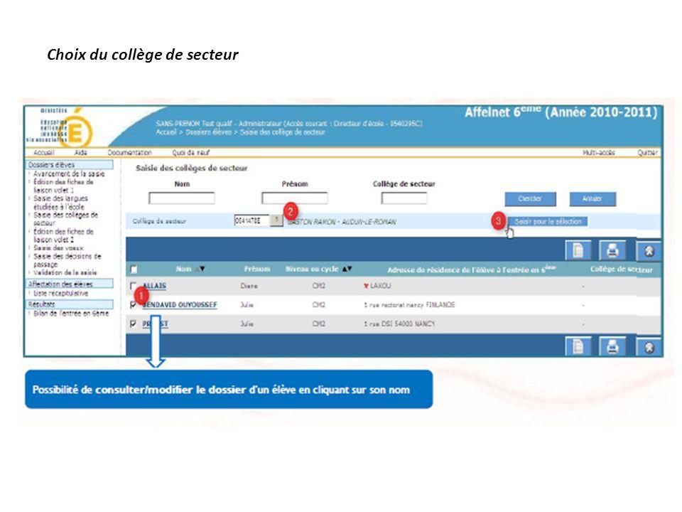 Choix du collège de secteur