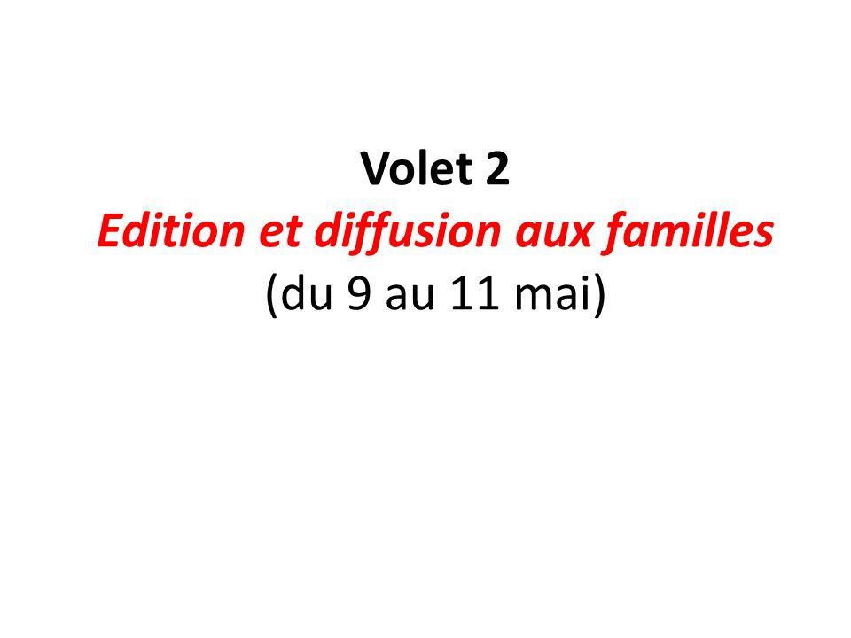 Volet 2 Edition et diffusion aux familles (du 9 au 11 mai)