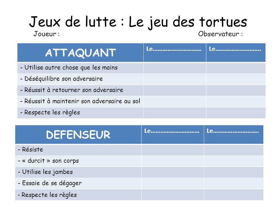 Jeux de lutte : Le jeu des tortues Joueur : Observateur : ATTAQUANT Le…………………………Le……………………….