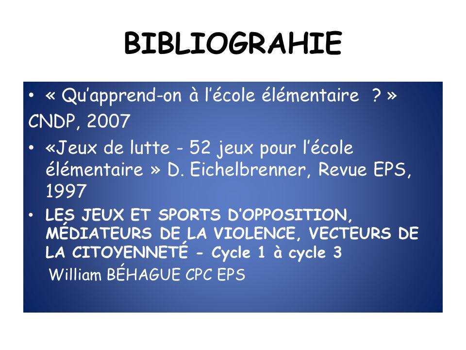 BIBLIOGRAHIE « Quapprend-on à lécole élémentaire ? » CNDP, 2007 «Jeux de lutte - 52 jeux pour lécole élémentaire » D. Eichelbrenner, Revue EPS, 1997 L
