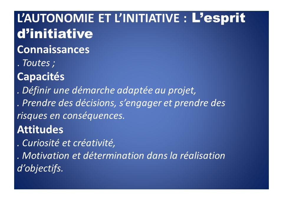 LAUTONOMIE ET LINITIATIVE : Lesprit dinitiative Connaissances. Toutes ; Capacités. Définir une démarche adaptée au projet,. Prendre des décisions, sen