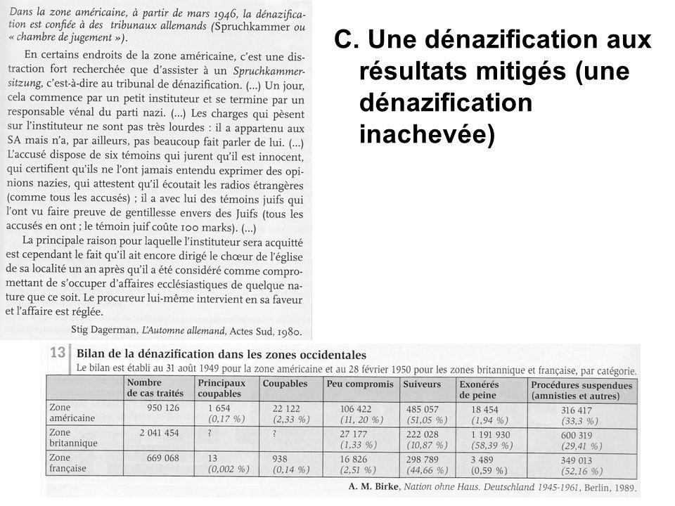 C. Une dénazification aux résultats mitigés (une dénazification inachevée)