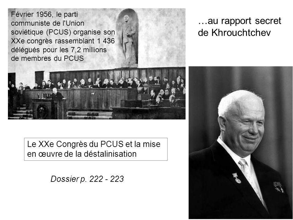 Février 1956, le parti communiste de l Union soviétique (PCUS) organise son XXe congrès rassemblant 1 436 délégués pour les 7,2 millions de membres du PCUS …au rapport secret de Khrouchtchev Le XXe Congrès du PCUS et la mise en œuvre de la déstalinisation Dossier p.