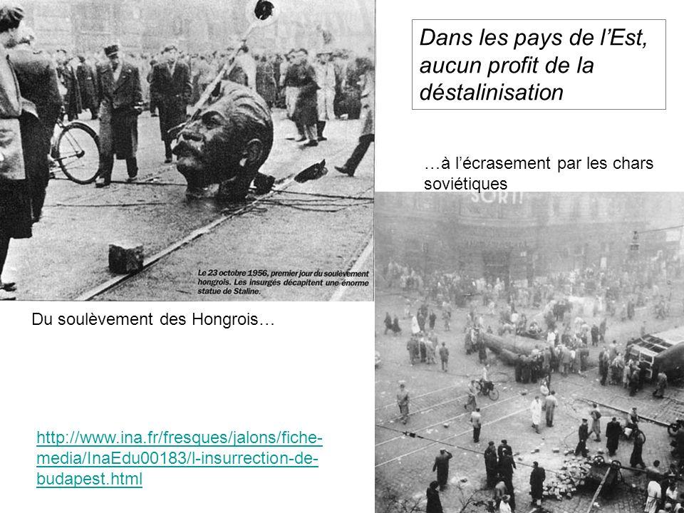 http://www.ina.fr/fresques/jalons/fiche- media/InaEdu00183/l-insurrection-de- budapest.html Dans les pays de lEst, aucun profit de la déstalinisation Du soulèvement des Hongrois… …à lécrasement par les chars soviétiques