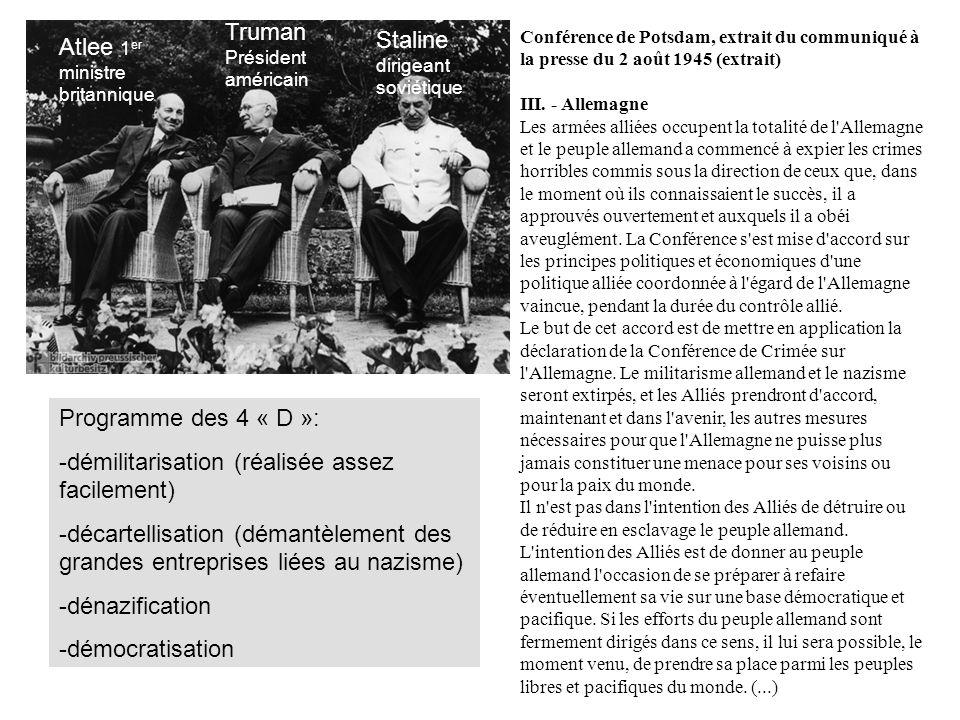 Conférence de Potsdam, extrait du communiqué à la presse du 2 août 1945 (extrait) III.