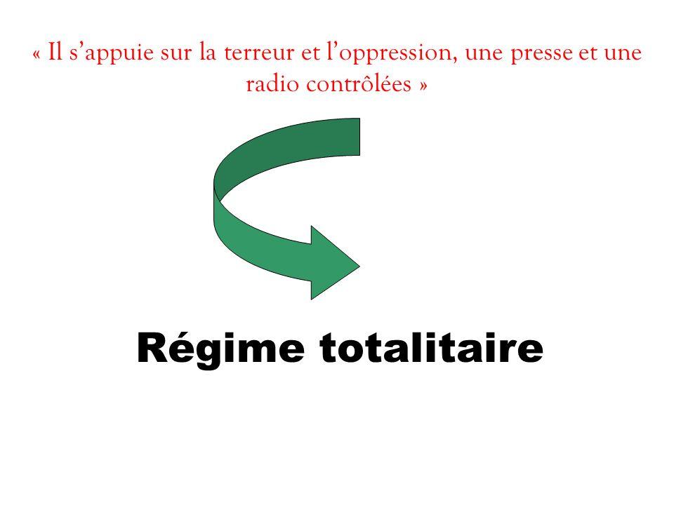 « Il sappuie sur la terreur et loppression, une presse et une radio contrôlées » Régime totalitaire