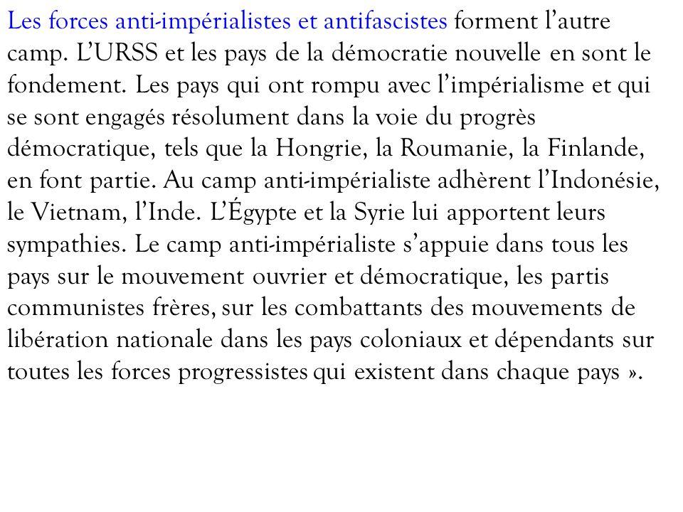 Les forces anti-impérialistes et antifascistes forment lautre camp. LURSS et les pays de la démocratie nouvelle en sont le fondement. Les pays qui ont