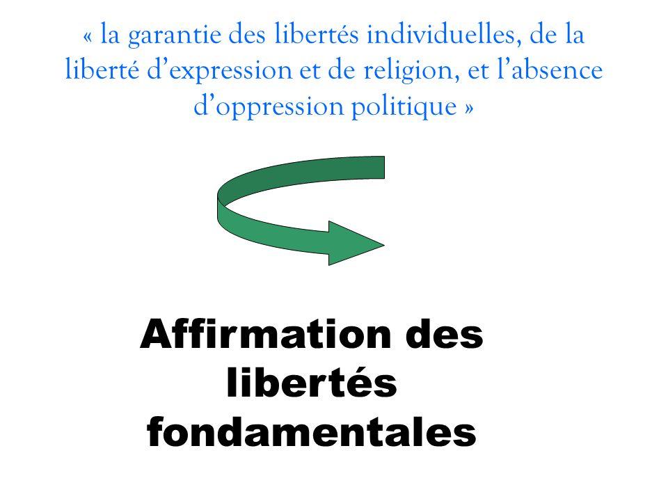 « la garantie des libertés individuelles, de la liberté dexpression et de religion, et labsence doppression politique » Affirmation des libertés fonda