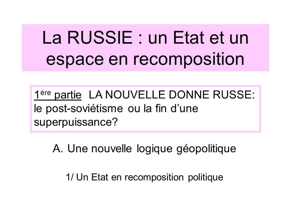 La RUSSIE : un Etat et un espace en recomposition A.Une nouvelle logique géopolitique 1/ Un Etat en recomposition politique 1 ère partie LA NOUVELLE D