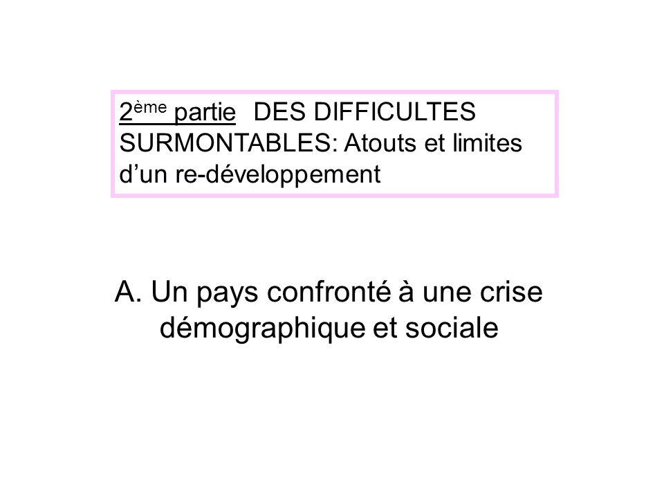 A. Un pays confronté à une crise démographique et sociale 2 ème partie DES DIFFICULTES SURMONTABLES: Atouts et limites dun re-développement