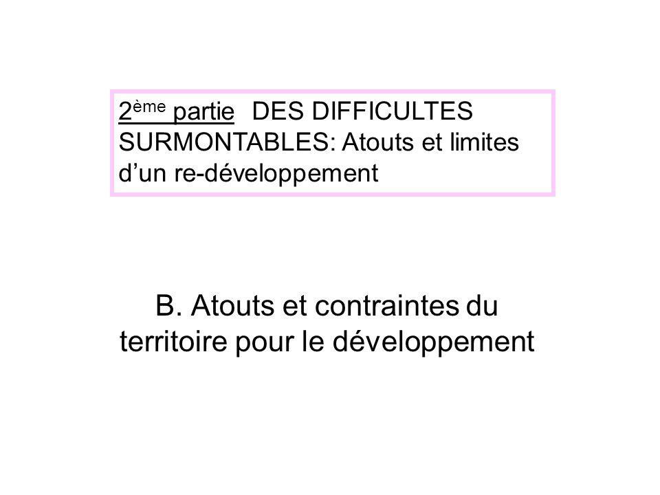 B. Atouts et contraintes du territoire pour le développement 2 ème partie DES DIFFICULTES SURMONTABLES: Atouts et limites dun re-développement