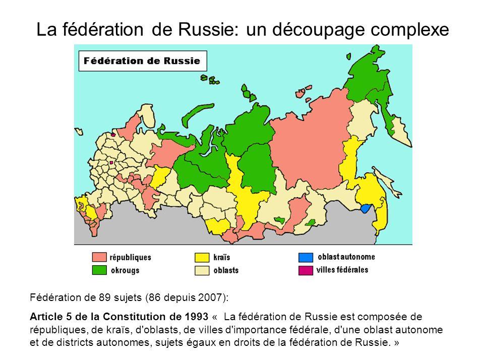 La fédération de Russie: un découpage complexe Fédération de 89 sujets (86 depuis 2007): Article 5 de la Constitution de 1993 « La fédération de Russi