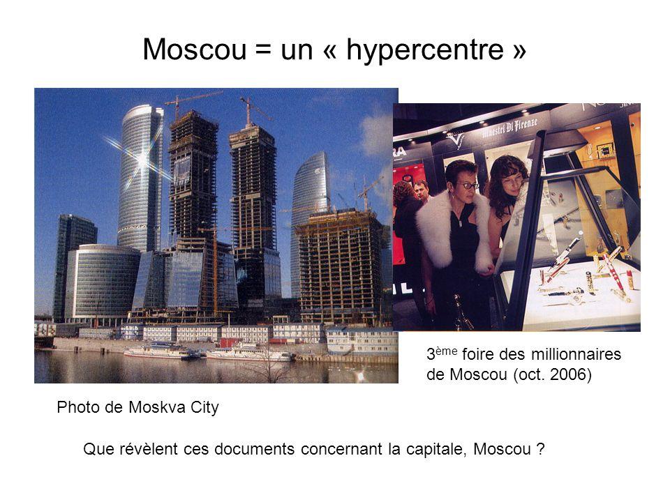 Moscou = un « hypercentre » Que révèlent ces documents concernant la capitale, Moscou ? Photo de Moskva City 3 ème foire des millionnaires de Moscou (