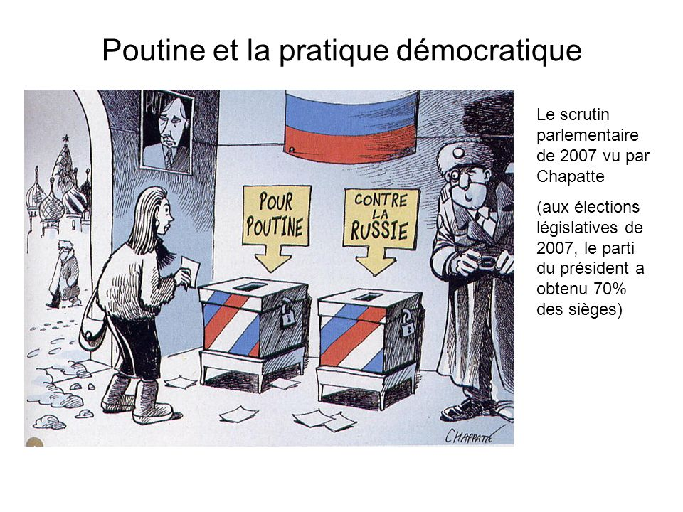 Poutine et la pratique démocratique Le scrutin parlementaire de 2007 vu par Chapatte (aux élections législatives de 2007, le parti du président a obte