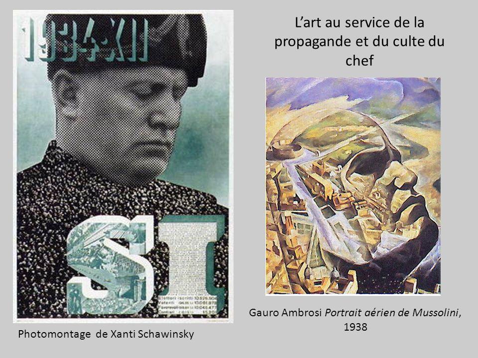 Lart au service de la propagande et du culte du chef Photomontage de Xanti Schawinsky Gauro Ambrosi Portrait aérien de Mussolini, 1938