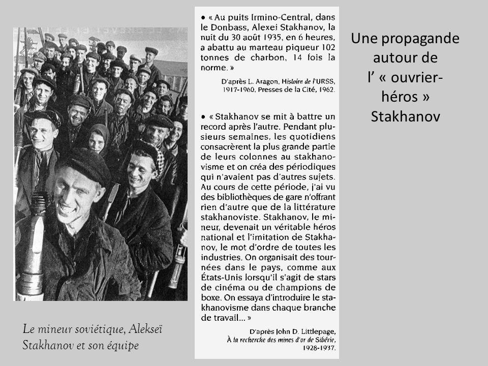 Le mineur soviétique, Alekseï Stakhanov et son équipe Une propagande autour de l « ouvrier- héros » Stakhanov