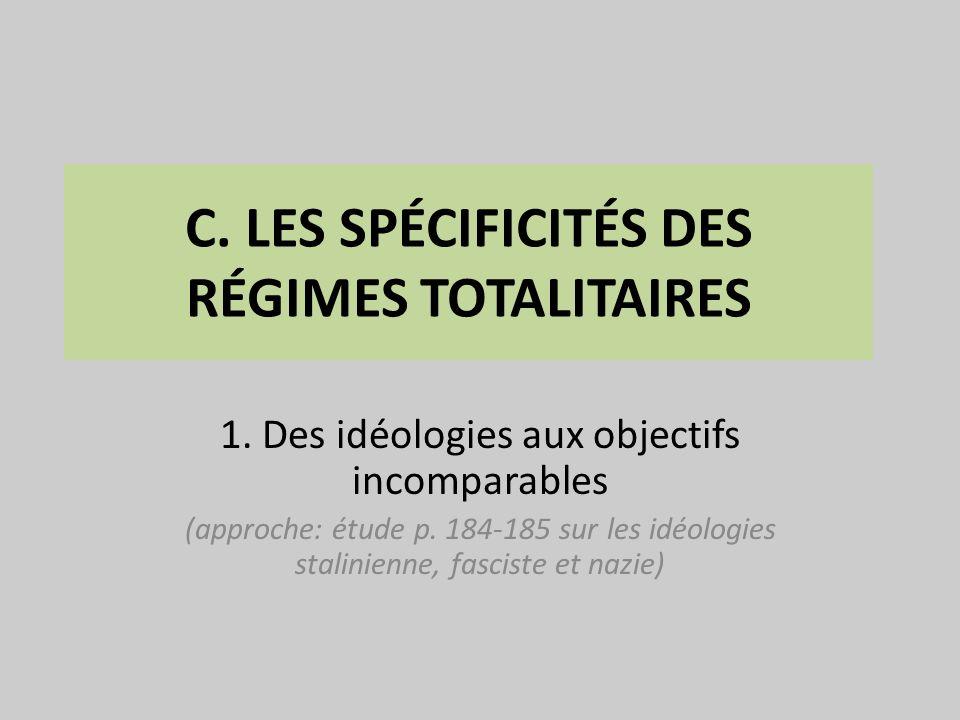 C. LES SPÉCIFICITÉS DES RÉGIMES TOTALITAIRES 1. Des idéologies aux objectifs incomparables (approche: étude p. 184-185 sur les idéologies stalinienne,
