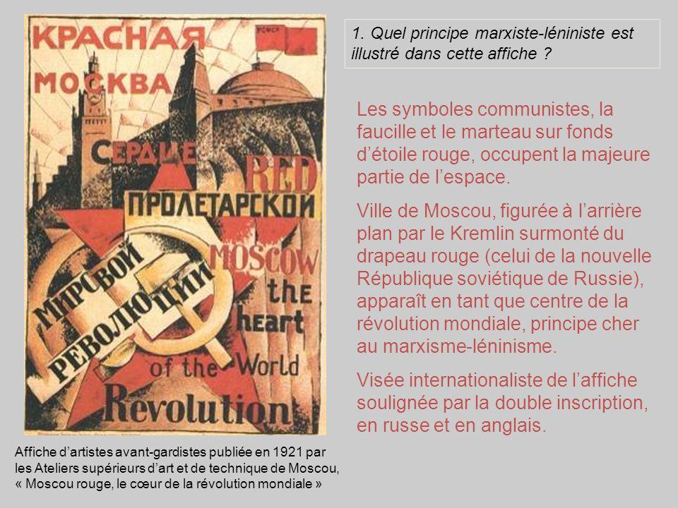 Affiche dartistes avant-gardistes publiée en 1921 par les Ateliers supérieurs dart et de technique de Moscou, « Moscou rouge, le cœur de la révolution mondiale » Les symboles communistes, la faucille et le marteau sur fonds détoile rouge, occupent la majeure partie de lespace.