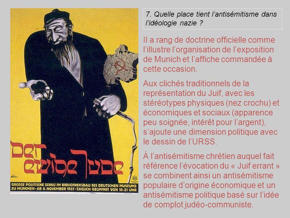 7. Quelle place tient lantisémitisme dans lidéologie nazie ? Il a rang de doctrine officielle comme lillustre lorganisation de lexposition de Munich e
