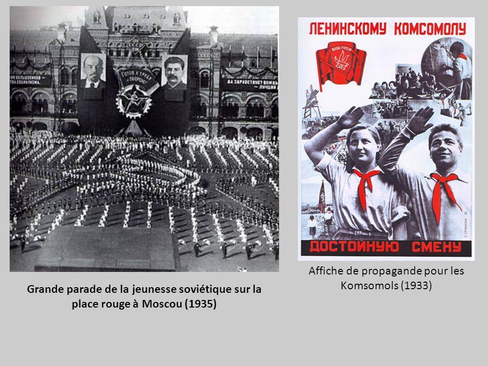 Grande parade de la jeunesse soviétique sur la place rouge à Moscou (1935) Affiche de propagande pour les Komsomols (1933)