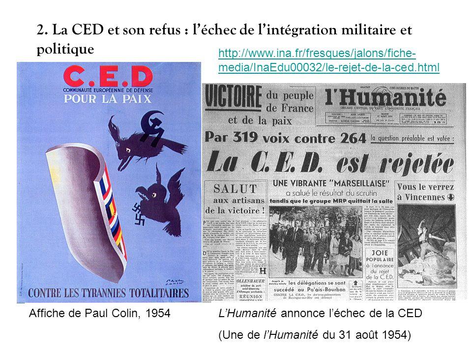 Affiche de Paul Colin, 1954LHumanité annonce léchec de la CED (Une de lHumanité du 31 août 1954) 2. La CED et son refus : léchec de lintégration milit