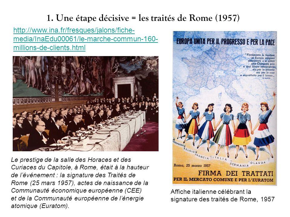 1. Une étape décisive = les traités de Rome (1957) Le prestige de la salle des Horaces et des Curiaces du Capitole, à Rome, était à la hauteur de lévé