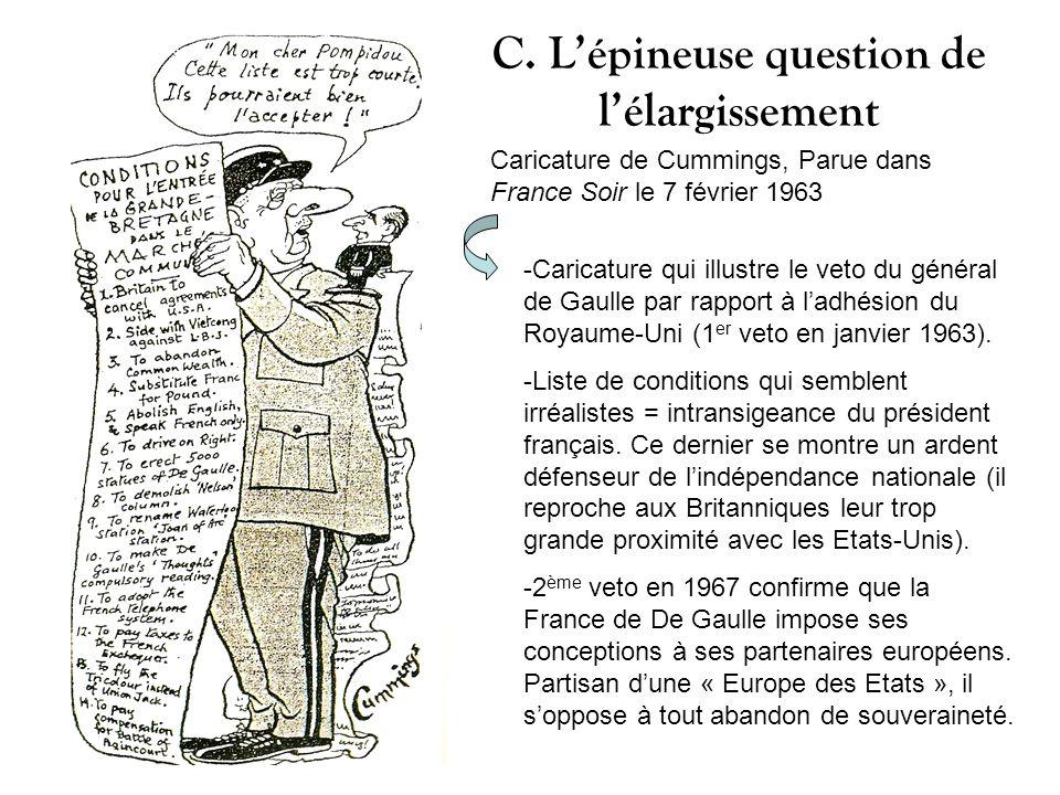 C. Lépineuse question de lélargissement Caricature de Cummings, Parue dans France Soir le 7 février 1963 -Caricature qui illustre le veto du général d