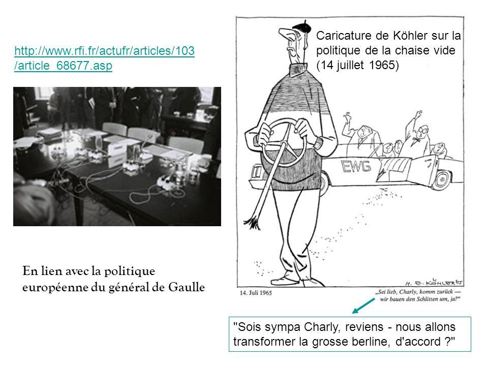 http://www.rfi.fr/actufr/articles/103 /article_68677.asp Caricature de Köhler sur la politique de la chaise vide (14 juillet 1965)