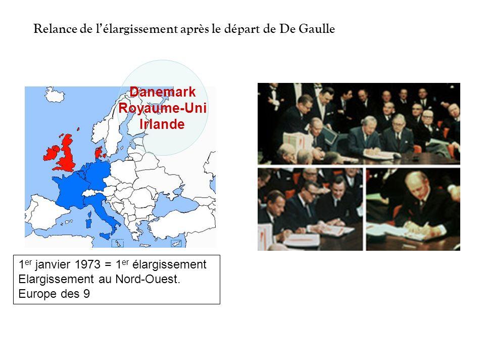 Danemark Royaume-Uni Irlande 1 er janvier 1973 = 1 er élargissement Elargissement au Nord-Ouest. Europe des 9 Relance de lélargissement après le dépar