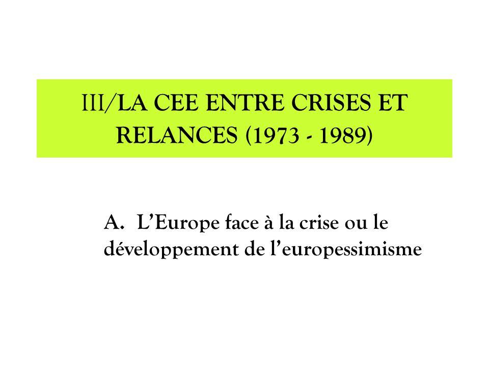 A.LEurope face à la crise ou le développement de leuropessimisme III/ LA CEE ENTRE CRISES ET RELANCES (1973 - 1989)