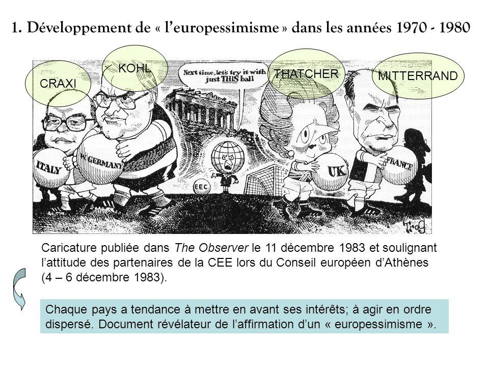 Caricature publiée dans The Observer le 11 décembre 1983 et soulignant lattitude des partenaires de la CEE lors du Conseil européen dAthènes (4 – 6 dé