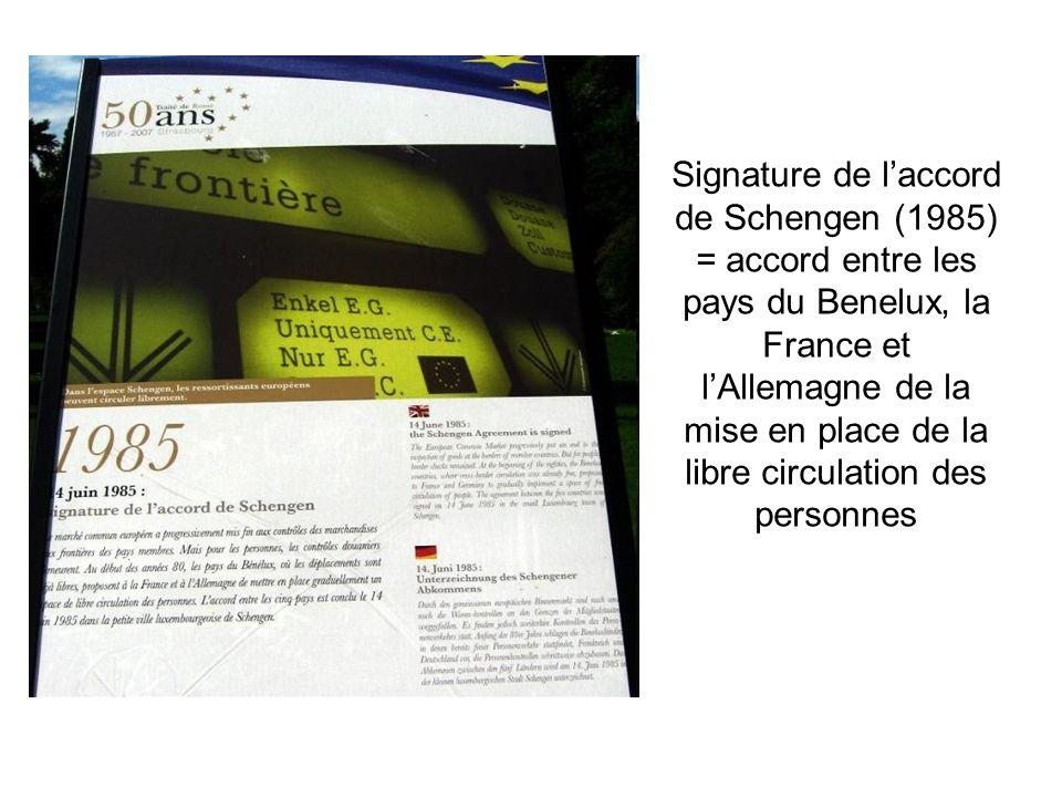 Signature de laccord de Schengen (1985) = accord entre les pays du Benelux, la France et lAllemagne de la mise en place de la libre circulation des pe