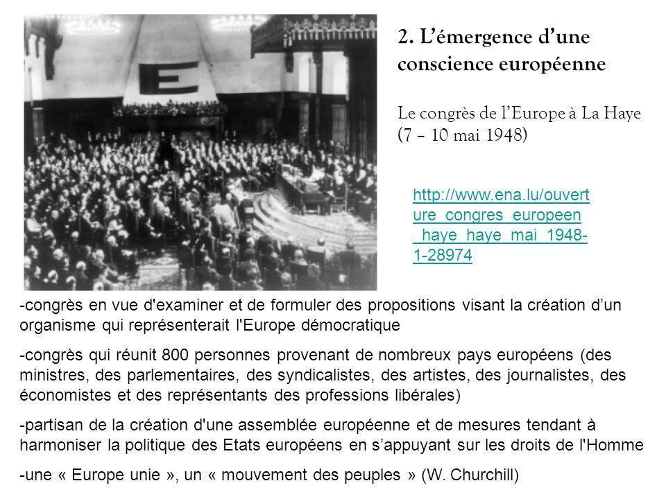 http://www.ena.lu/ouvert ure_congres_europeen _haye_haye_mai_1948- 1-28974 Le congrès de lEurope à La Haye (7 – 10 mai 1948) -congrès en vue d'examine