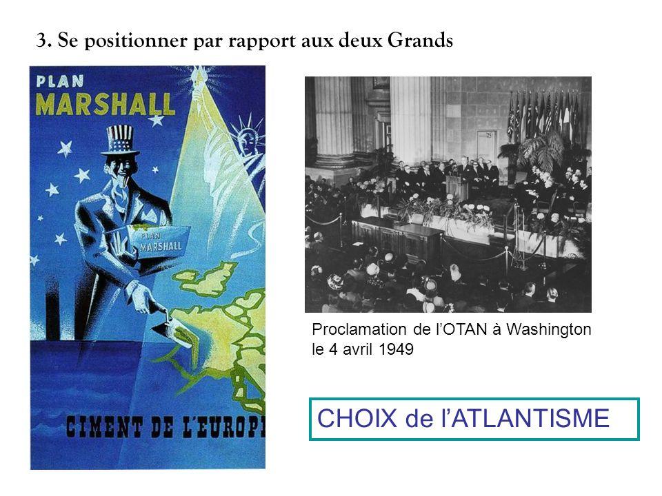 3. Se positionner par rapport aux deux Grands Proclamation de lOTAN à Washington le 4 avril 1949 CHOIX de lATLANTISME