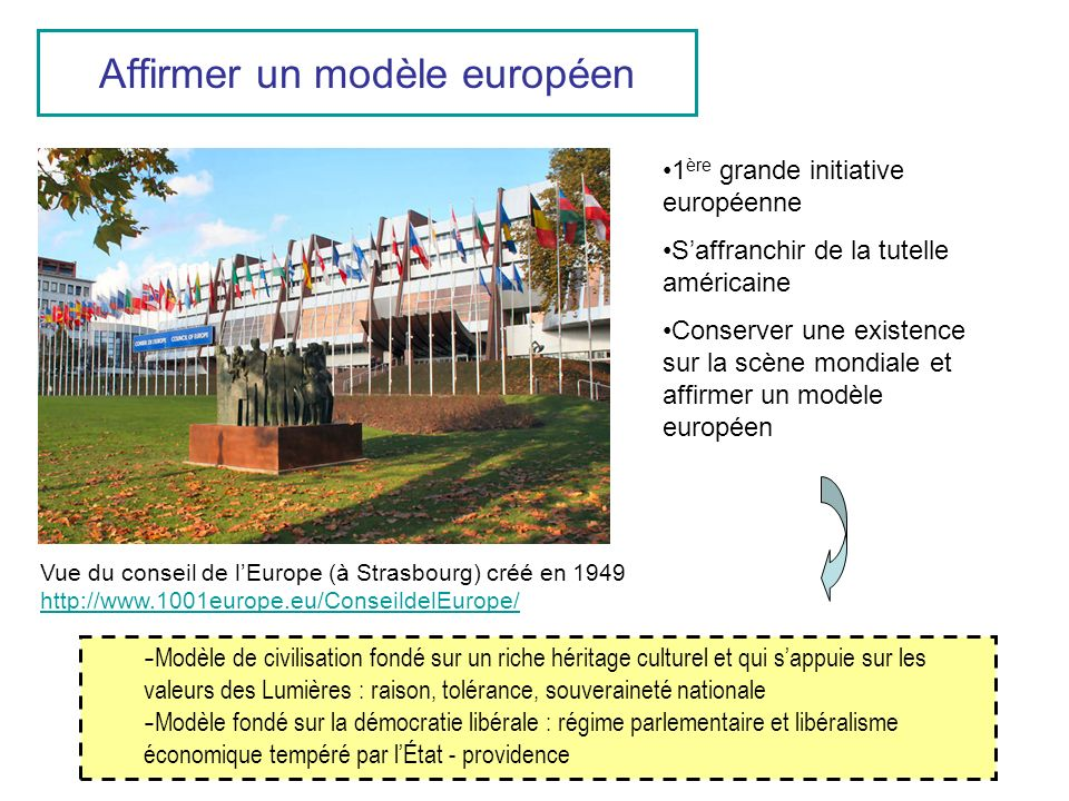 Affirmer un modèle européen Vue du conseil de lEurope (à Strasbourg) créé en 1949 http://www.1001europe.eu/ConseildelEurope/ http://www.1001europe.eu/