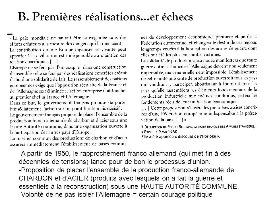 -A partir de 1950, le rapprochement franco-allemand (qui met fin à des décennies de tensions) lance pour de bon le processus dunion. -Proposition de p