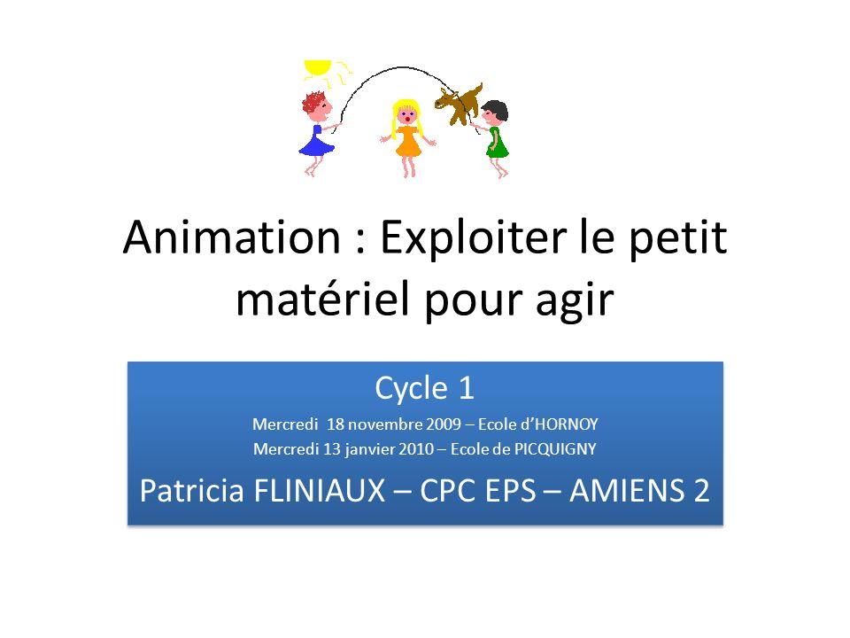 Animation : Exploiter le petit matériel pour agir Cycle 1 Mercredi 18 novembre 2009 – Ecole dHORNOY Mercredi 13 janvier 2010 – Ecole de PICQUIGNY Patr